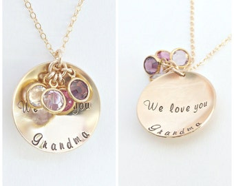 Birthstone Mom Necklace, Mother's Day Jewelry, Grandma Gift, Personalized Necklace, Gold Disc Necklace, Personalized Jewelry