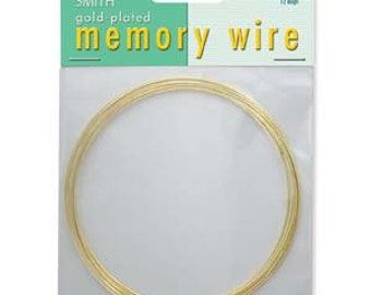Memory Wire Gold Necklace Memory Wire Necklace 3.6 Inch Diameter 12 Loops Gold Plated Hard Carbon Steel