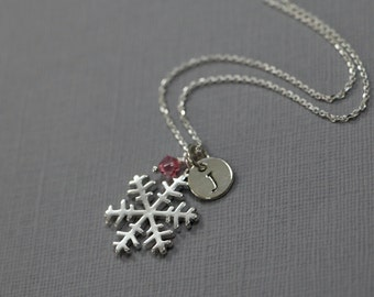 Silver Snowflake Necklace, Personalized Sterling Silver Snowflake Necklace, Winter Wedding Necklace, Winter Necklace, Christmas Necklace