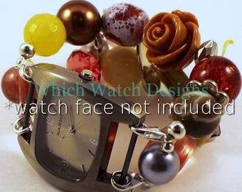 Fall Floral...Chunky Brown, Red, Yellow and Salmon Interchangeable Beaded Watch Band