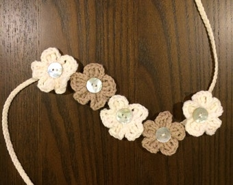 Crochet flower headband with button centers, baby / toddler / child / photo prop