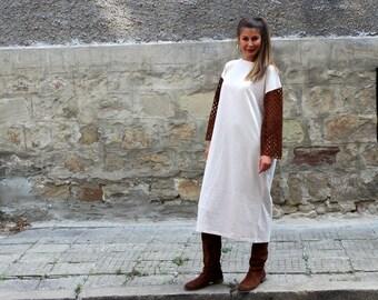 Beige Dress/ Midi dress/ Long sleeve dress/ Fall dress/ Wool dress/ Midi tea dress/ dress women/ knit dress/ extravagant dress/ spring dress