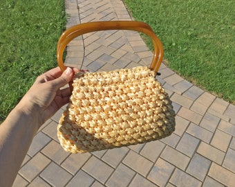 Maurice Moskowitz Vintage Crocheted Straw handbag with Lucite Tortoise Shell Locking Handles
