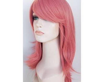 Dusty pink long wavy wig. Cosplay wig. Pink wig. ready to ship.