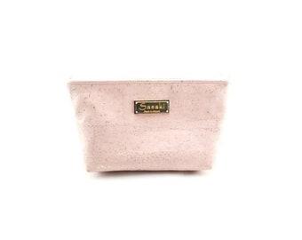 """9"""" x 5"""" - Rose Gold Cork Gadget Bag - zipper pouch - Bag organizer"""