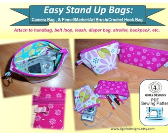 Easy Stand Up Bags: Cord Case, Camera Case and Pencil/Art/Crochet Case 4girlsdesigns INSTANT DOWNLOAD PDF Sewing Pattern