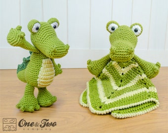 Combo Pack - Crocodile Lovey and Amigurumi Set for 7.99 Dollars - PDF Crochet Pattern - Instant Download - Special Offer Pack