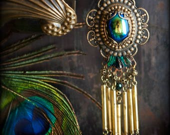 Goddess Hera -  Glorious Peacock glass fringe long necklace created from vintage and antique rare parts ooak