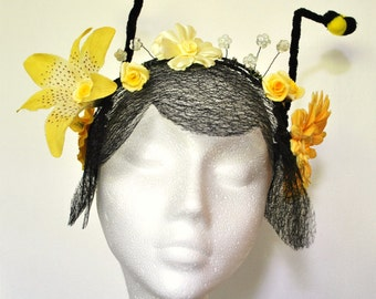 Bumble bee costume headdress wasp costume yellow and black flower fairy crown fancy dress cosplay