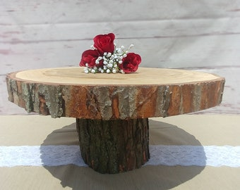 Elevated Wood Cake Stand / Cake Base - Rustic Log Cake Stand for Weddings - ENGRAVING INCLUDED! - also used as cupcake stand
