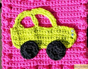 Crochet Car Applique Granny Square PATTERN: Like a BOSS Blanket Series pdf instant digital download