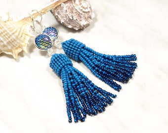 Blue tassel earring Mermaid scale Dragon scale Fish scale Nautical earring Iridescent mermaid tail Inspired Game of Thrones