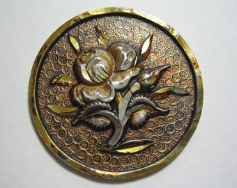 Very Large Pewter Button with Floral #3