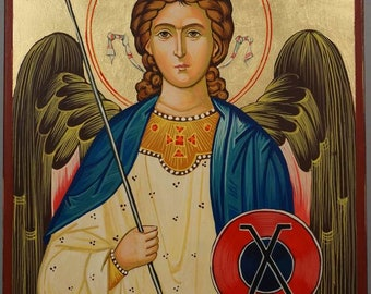 Saint St Archangel Gabriel Hand-Painted Byzantine Orthodox Icon on Wood 30x20cm