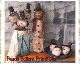 ePattern~Primitive Let it Snow, Man Doll, Bowl Fillers, Ornies Crock Fillers Sewing Pattern PDF