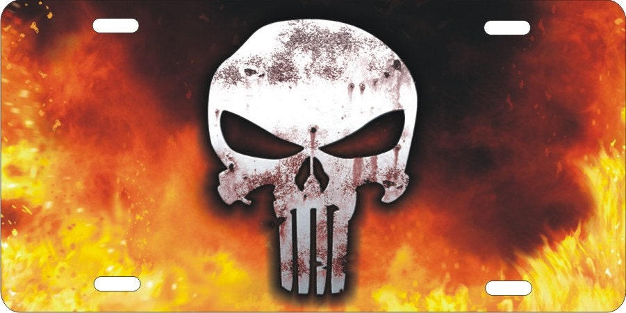 The punisher skull on fire background novelty front license zoom voltagebd Choice Image