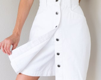 Gorgeous Vintage High Waisted Button Up White Denim Jean Skirt Shorts Skort Size 12 Large L Waist 30 inches!