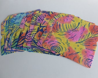 Handmade screen printed C6 envelopes