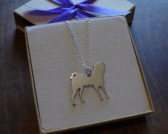 Handmade Silver Pug Dog Pendant Necklace