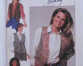 Christie Brinkley Sewing Pattern For Lined Vest With Trim Variations - Simplicity 9373 - Sizes 14-16-18-20, Bust 36-42, Uncut