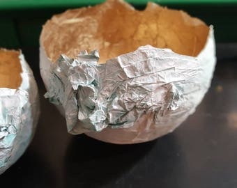 Plaster and paper mache bowl decorative