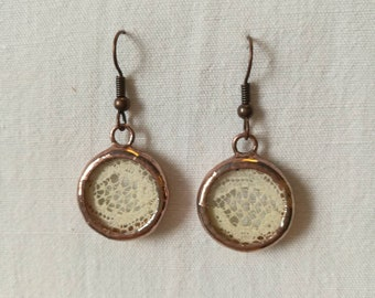 Recycled glass and antique lace earrings