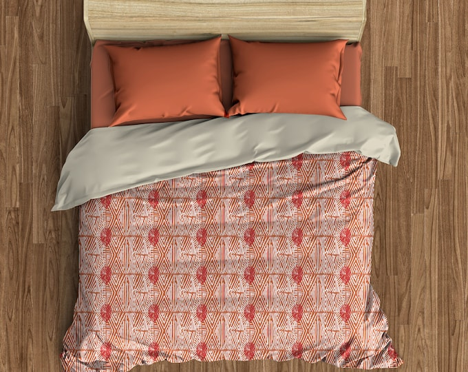 Featured listing image: Tribal Marks Duvet Cover - Red/Coral - Free Shipping
