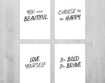 Motivational Quotes Printable Wall Art Set of 4 Quotes Planner Quotes Positive Affirmation Words Wall Art Words To Live By Positive Art