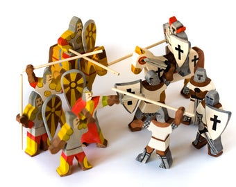Wooden toy cavalier  Set - Waldorf wood knights set of 5 Slavic and 5 Сrusaders