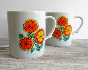 Two Retro Mod Vintage Floral Cups, Made in Japan
