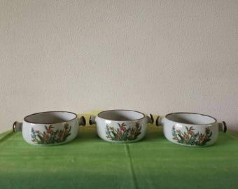 3 soup bowls Wild plant motif