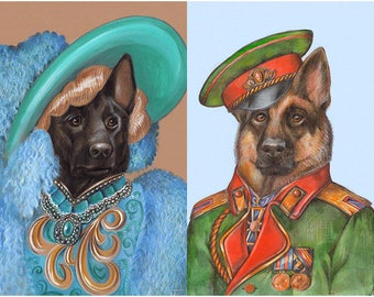 German Shepherds on the Red Carpet - 2 Art Prints - The Movie Star and Alsatian Officer - Funny Pet Portraits by Maria Pishvanova