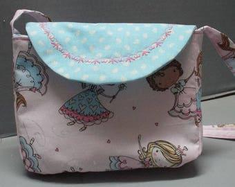 Toddler Purse - Girls Purse - Girls Shoulder Bag - Girls Tote Bag, Little Princesses Fabric