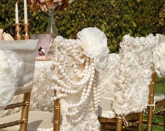 Fancy chair cover etsy ivory rose garden pearls chiavari chair cover wedding chair cover chiavari chair cover junglespirit