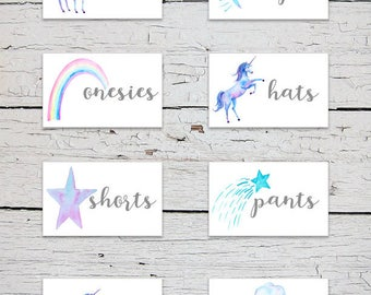 Printable Nursery Drawer Labels | Unicorn Drawer Labels | Unicorn and Rainbows Nursery Decor | Nursery Organizer | Baby Clothes Labels