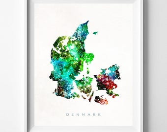 Denmark Map Print, Copenhagen Art, Denmark Poster, Copenhagen Map, Watercolor Map, State Art, Home Decor, Map Poster, Mothers Day Gift