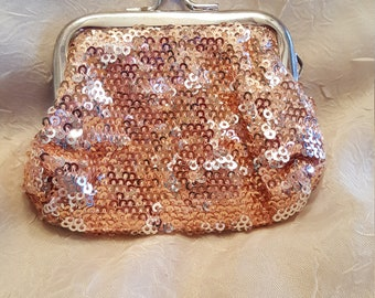 Beautiful little pink sequin vintage coin purse