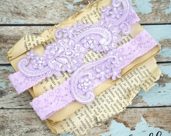 Wedding Garter Set, Lavender Pearl Beaded Lace Wedding Garter Set, Ivory Lace Garter Set, Lace Wedding Garter Belt, Style No. GT-53