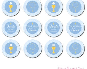 PRINTABLE Personalized First Communion Party Circles #602