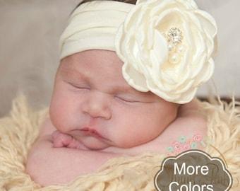Ivory Baby Headband, Baby toddler headbands, Nylon headbands, Newborn headband,Baby Head wraps, Baptism Flower Headband, Baby girl Hair bows