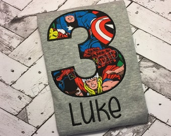 Marvel superhero shirt/ superhero birthday shirt/ Superhero shirt/ Boys superhero birthday shirt/ Marvel birthday shirt
