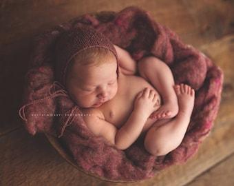Desert Rose Rustic Wool Fluff - Newborn Photo Prop - pink wool batting - basket stuffer
