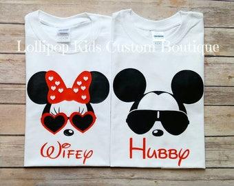 Wifey, Hubby, Wife, Husband, wedding,  just married, honeymoon, Disney face white short sleeve shirt*