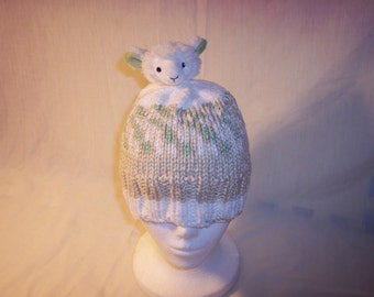 Taupe, Green, and White Beanie with Lamb topper Child/Young Adult Size