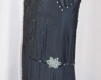 1920's Beaded Black Dress w/Rhinestones