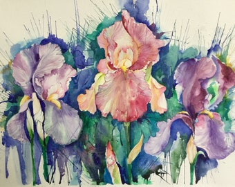 Watercolor flowers/Irises/Floral painting/floral art