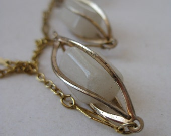 Off White Gold Modern Necklace Stone Vintage