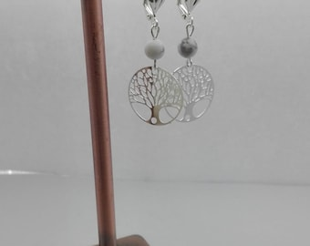 metal tree of life earrings, stone white howlite, semi precious gem stone, Crystal healing, gift for her