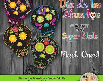 CLIP ART Sugar Skull Catrina Dia de los muertos Day of the dead Halloween Mexico Digital Download