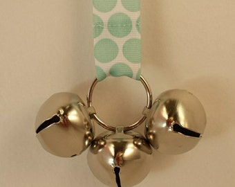 Training Door Bells For Your Doggie *White with Light Spa Green Dots*